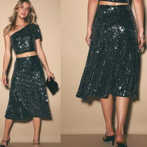 Lulu's Come to Life Black Sequin Midi Skirt Size M